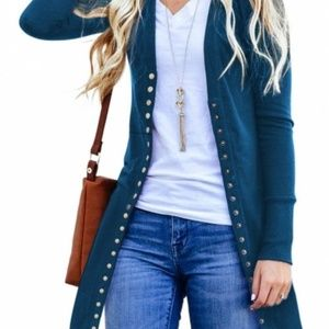 Sweaters - Snap Button Down Knit Ribbed Cardigan